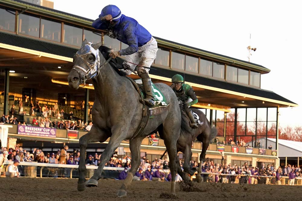 Jockey Luis Saez reacts aboard Essential Quality as they win the Breeders' Cup Juvenile horse race at Keeneland Race Course, Friday, Nov. 6, 2020, in Lexington, Ky.
