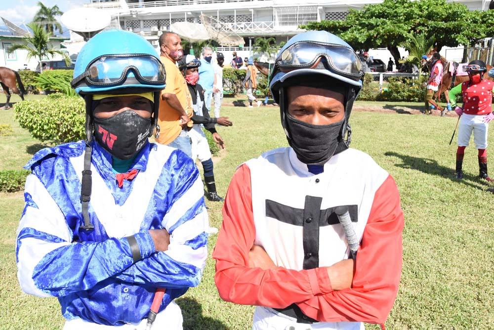 Dane Nelson (left) and Anthony Thomas - champion jockeys 2020