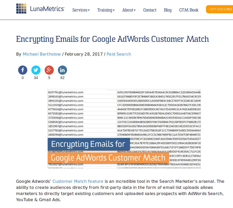 Screenshot-Encrypting Emails for Google AdWords Customer Match   LunaMetrics - Mozilla Firefox