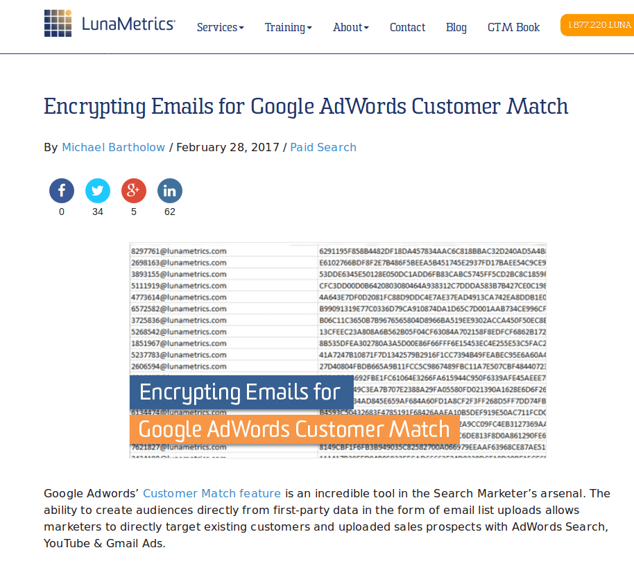 Screenshot-Encrypting Emails for Google AdWords Customer Match | LunaMetrics - Mozilla Firefox