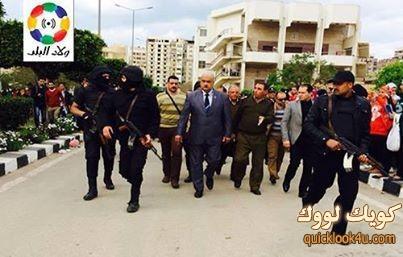 مدير أمن الدقهلية داخل جامعة المنصورة عقب اقتحام الداخلية الحرم الجامعي.