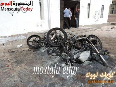 الطلاب أشعلوا النيران فى الدراجات النارية أمام مبنى أدارة الامن