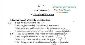 اجابات دليل التقويم انجليزي 13و14و15 ثانوية عامة