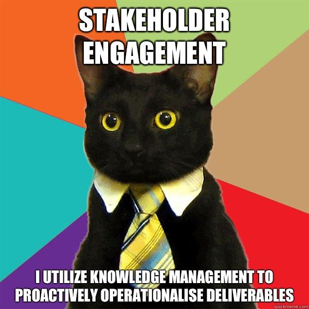 Stakeholder engagement I utilize knowledge management to proactively operationalise deliverables - Stakeholder engagement I utilize knowledge management to proactively operationalise deliverables Business Cat