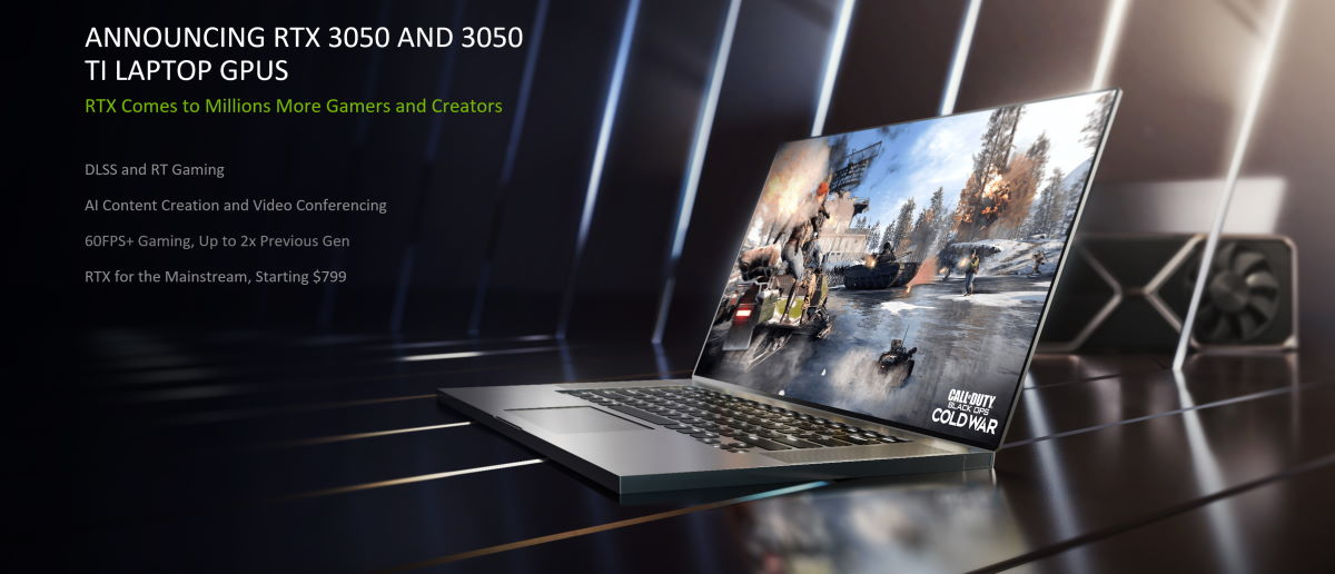 GeForce RTX 3050 และ RTX 3050 Ti ขุมพลังใหม่ของเกมมิ่งโน้ตบุ๊กระดับเริ่มต้น รองรับ Ray tracing และ DLSS พร้อมยกระดับความสามารถด้านการศึกษาขึ้นไปอีกขั้น