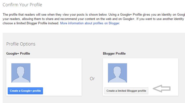 Blogger Create Blogger Profile