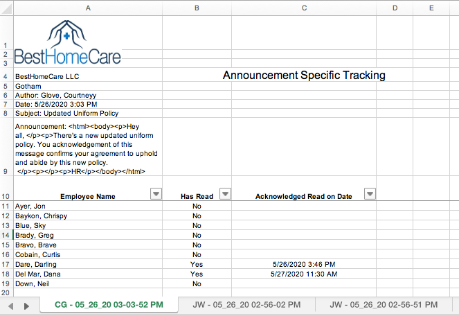 Announcement Specific Tracking Report by Author in QSP