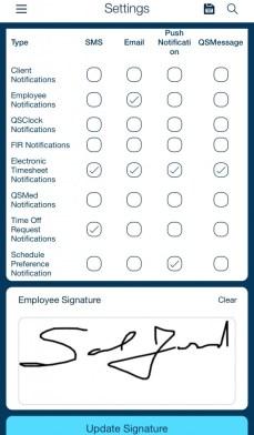 electronic timesheet signature settings