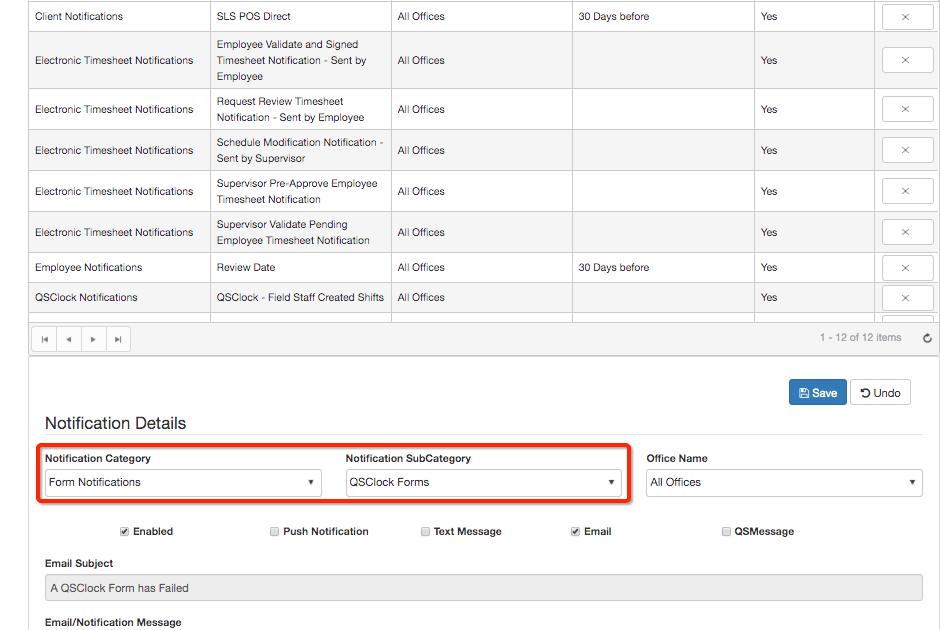 QSClock Form Notifications