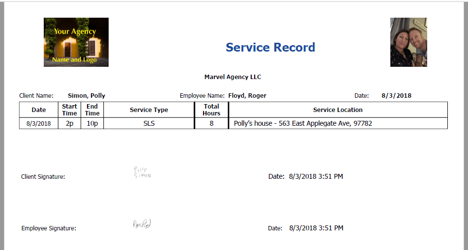 service record client signature added