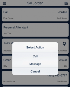 call text message employee using QSP Mobile