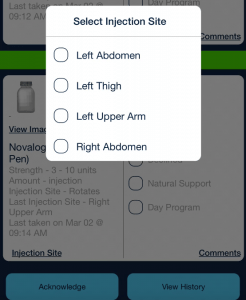 Medication injection site choices_qsp medication tracking app