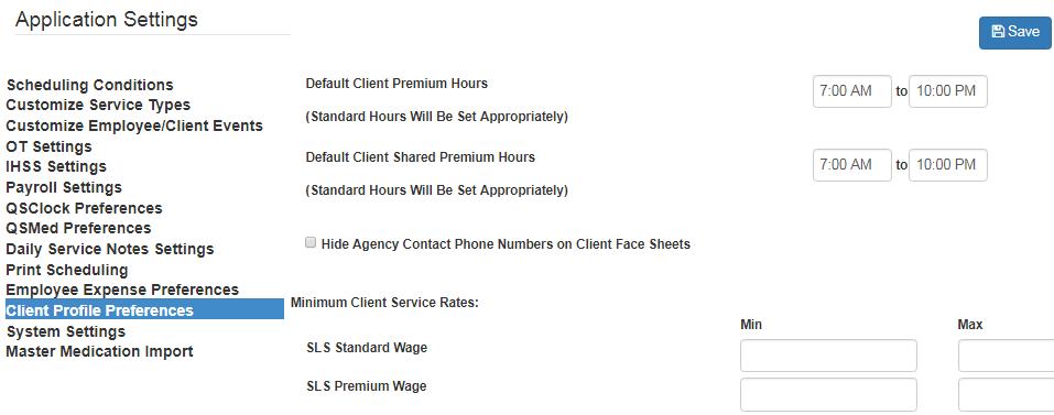 Client SLS premium standard hours