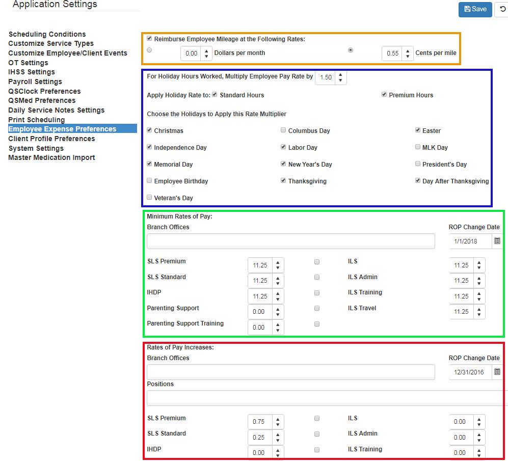 Set employee expense preferences - QSP settings