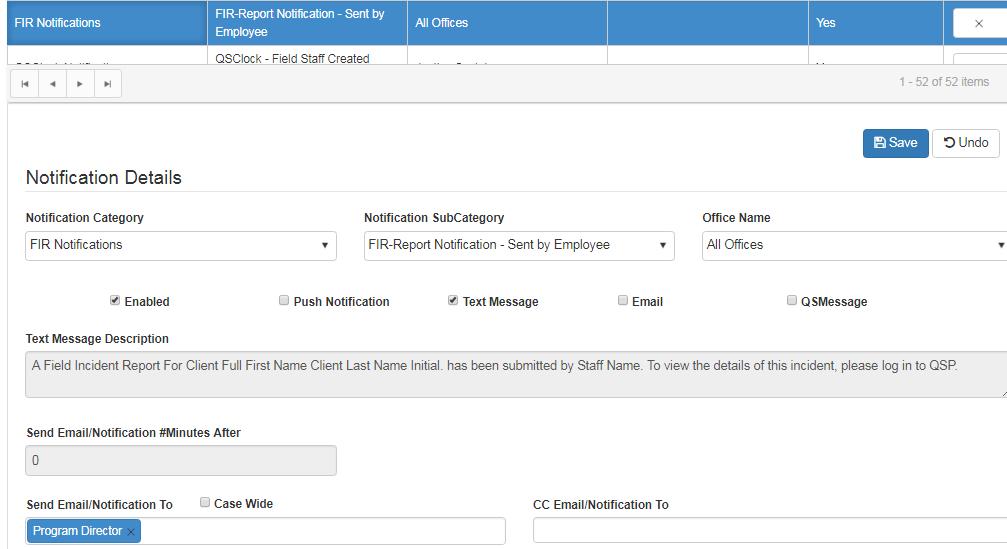 field incident report notification in QSP
