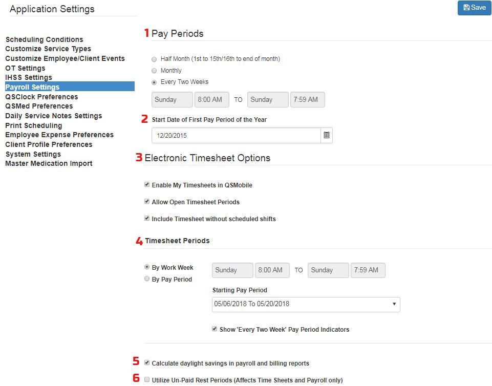 QSP payroll settings