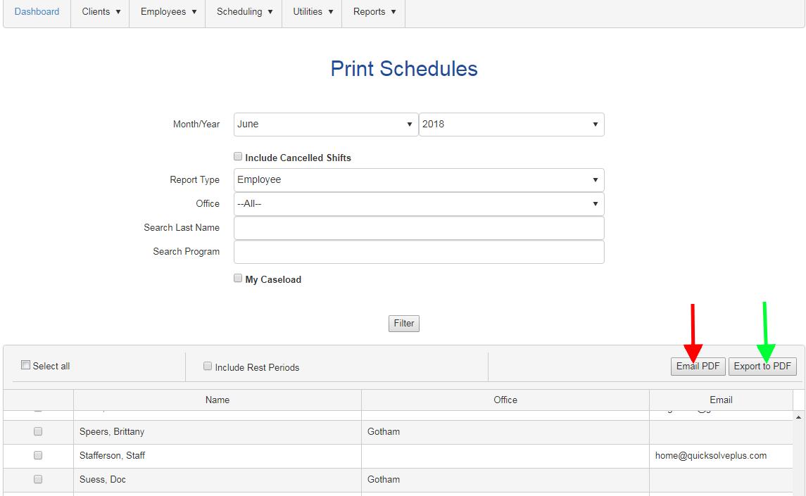 print email schedules bulk