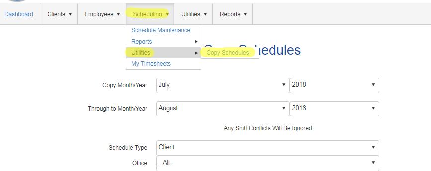 copy schedules bulk in QSP