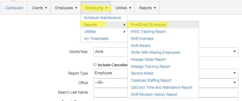print schedule menu QSP