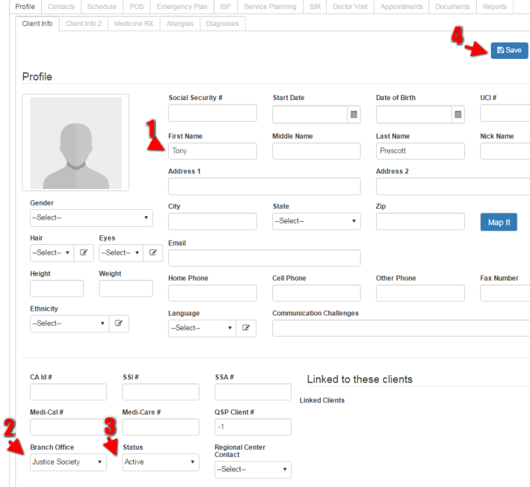 client min data entry in QSP