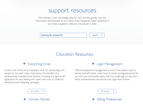 Bluehost's knowledge base homepage