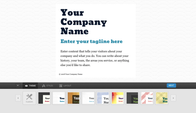 Onepager template theme selector
