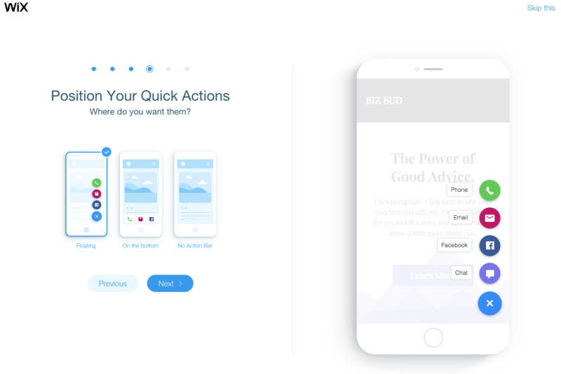 Wix website builder mobile user interface