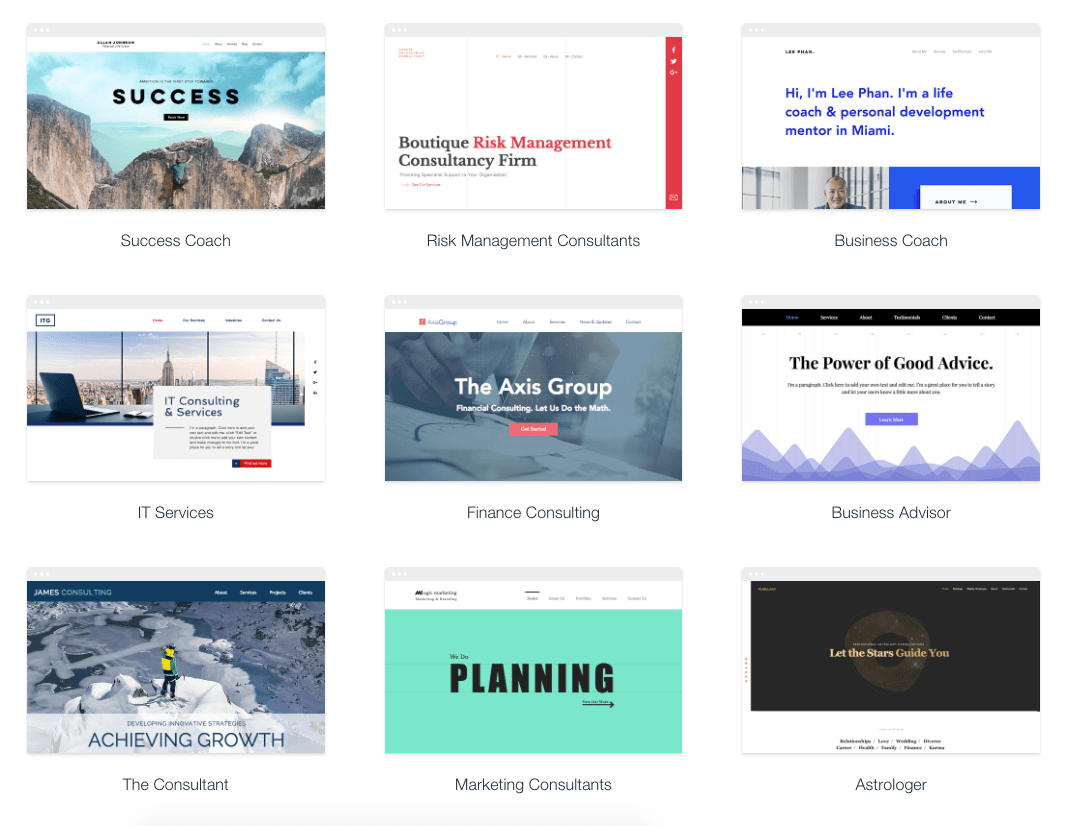 Wix theme template designs for marketing