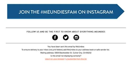 MeUndies marketing email Instagram hashtag