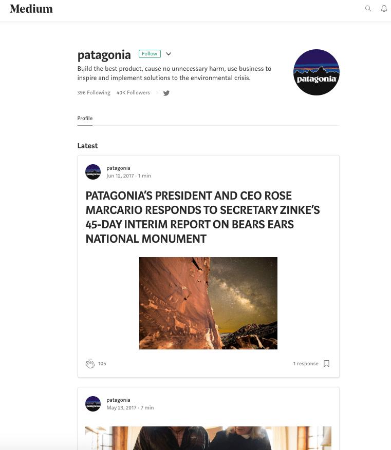 Medium blog profile page