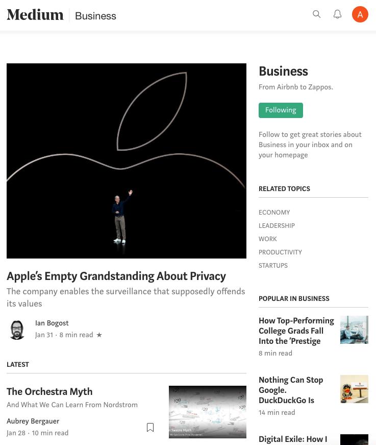 Medium category page