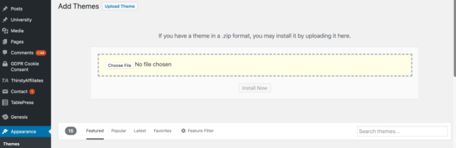 Upload WordPress Theme