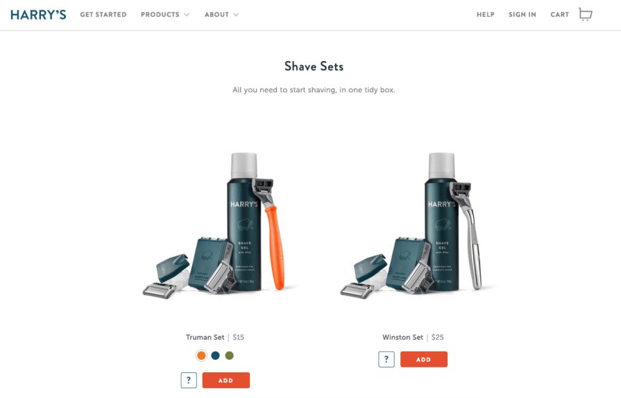 Harry's product page is clean with minimal text. Images of the shaving products convey information.