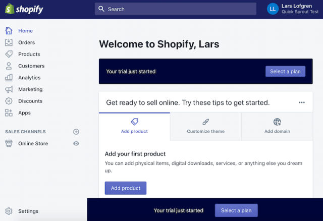 Shopify add first product online store backend 2