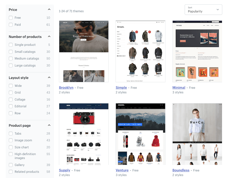 Shopify ecommerce themes