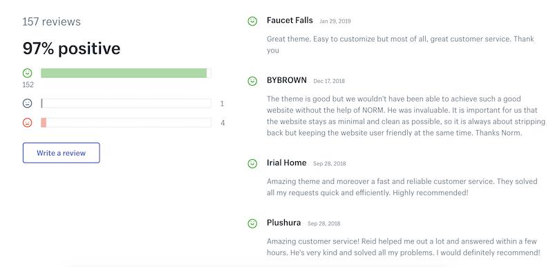 Shopify theme reviews positive