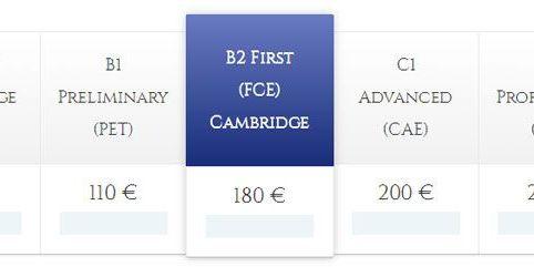 Precios exámenes Cambridge