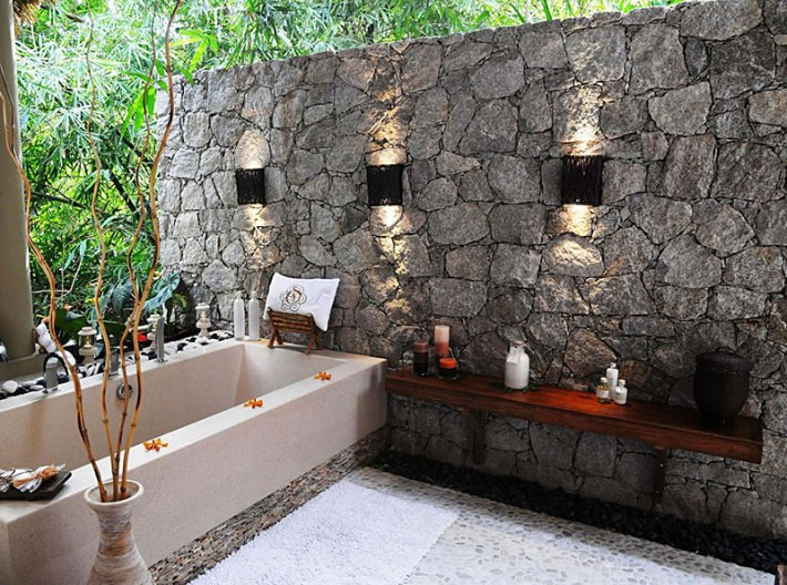 Outdoor Bathroom Designs plants on the wall above baths outdoor bathroom plans white wooden spice storage organizer black marble countertop combination metal head shower Beautiful Outdoor Bathroom Designs