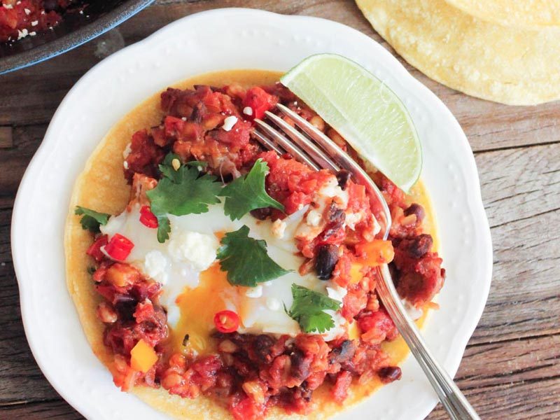 Quiet Corner:Fiesta Baked Eggs with Farro and Black Beans ...