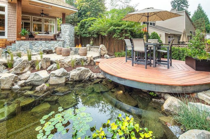 Quiet corner inspiring backyard pond ideas quiet corner for Wooden koi pond construction
