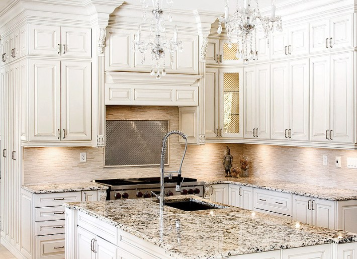 Kitchen Ideas  Antique White Cabinets Quiet Corner