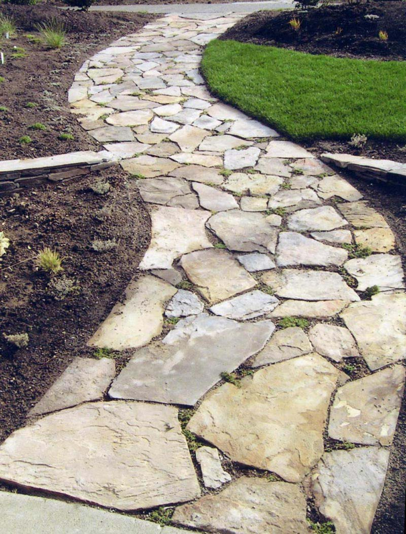Outdoor Natural Stone : Quiet corner beautiful garden paths made of natural stone