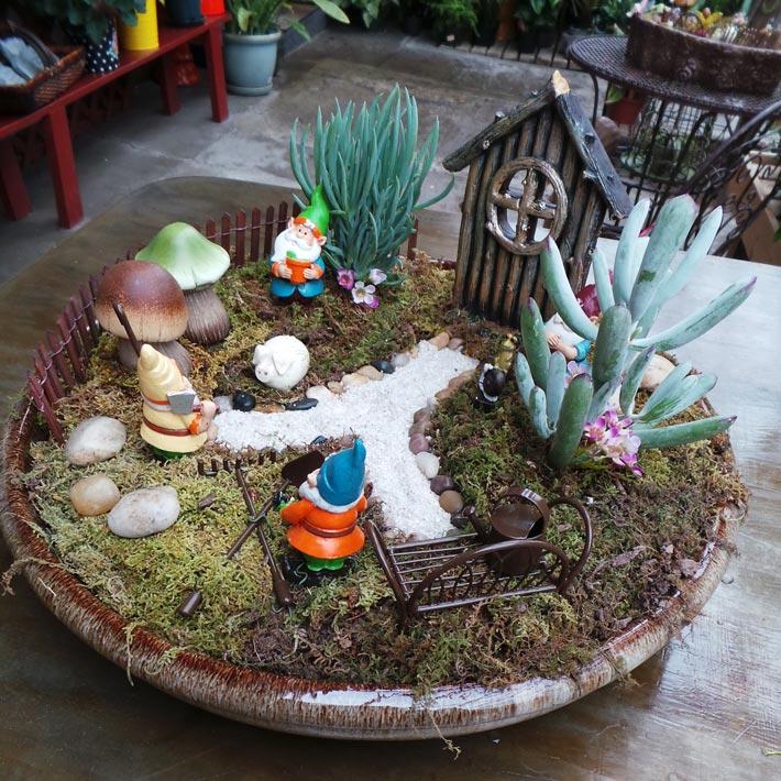 quiet corner fairy garden in container