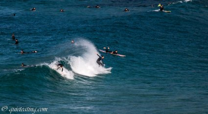 Surfers showing some flair