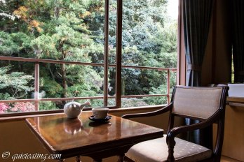 Inside our roykan. Our little sitting room overlooking a brook and the forest. Perfect time to try some tea