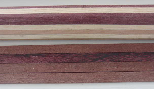 After sanding purpleheart regains its vivid color
