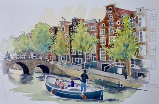 Canal Scene, Amsterdam, SOLD