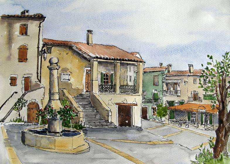 Village Scene, France Sold