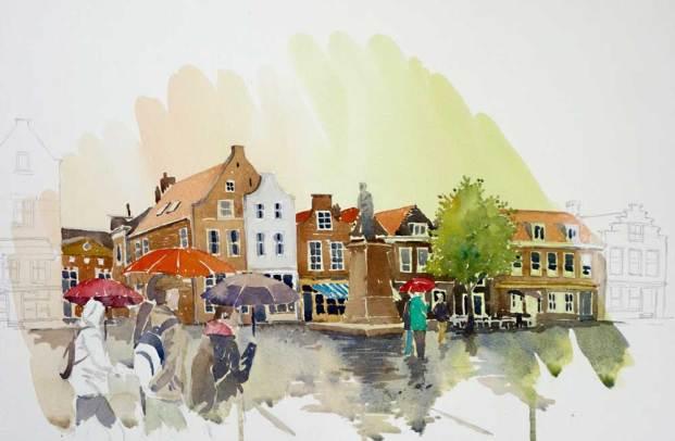 In the rain, Delft, Netherlands II, Sold