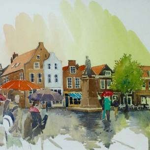 Delft in the rain, Netherlands, Sold